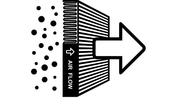 air filter particle flow direction
